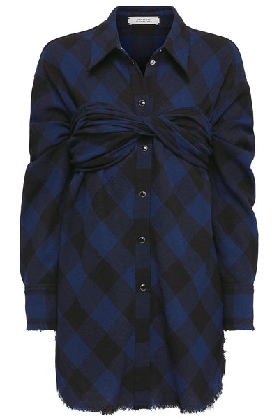 Playful Check Blouse in Blue/Black Check
