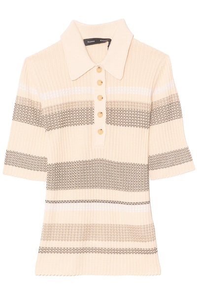 Viscose Zig Zag Polo in Pale Blush Multi