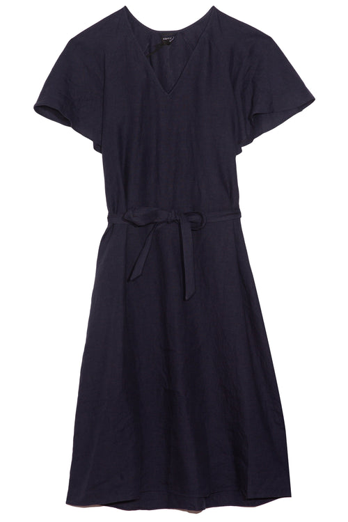 Flutter Sleeve Dress in Navy