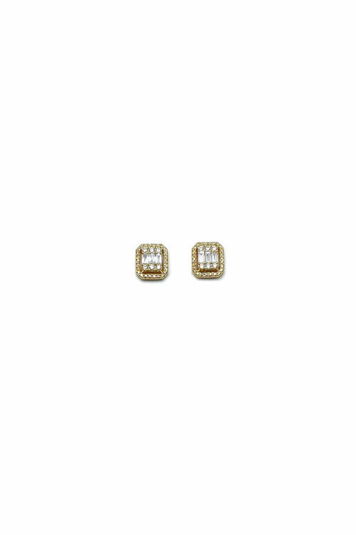 Baguette and Pave Diamond Billboard Earring in Yellow Gold
