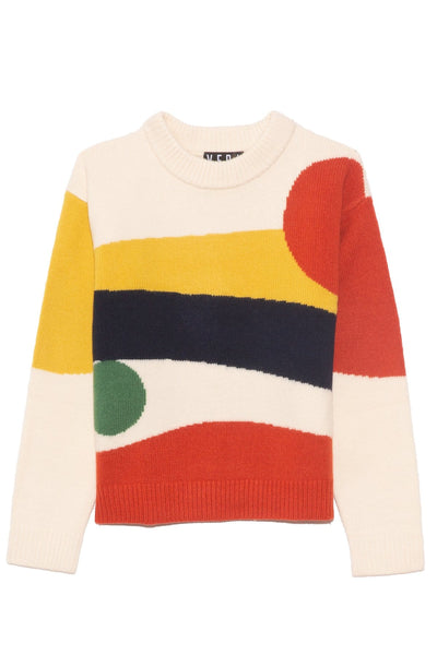 Lina Alpaca Sweater in Abstract Landscape