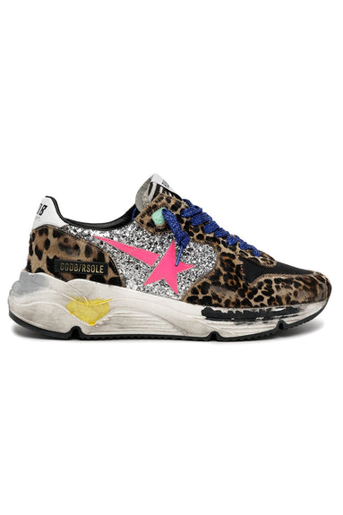 Running Sole Sneakers in Silver/Brown Black Leo/Fuxia Fluo