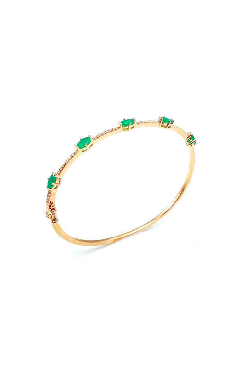 Emerald and Diamond Bangle in Rose Gold