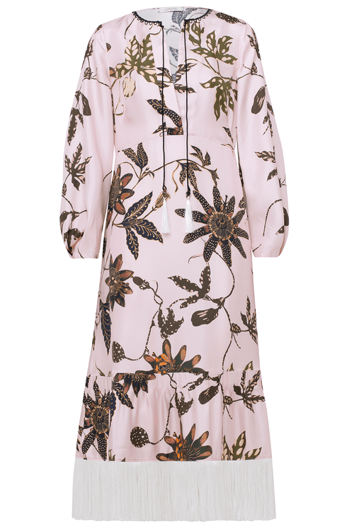 Powerful Flora Long Sleeve Dress in Rose Passiflora