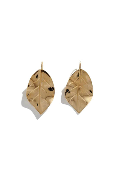 Grace Leaf Earrings in 14k Gold Plate