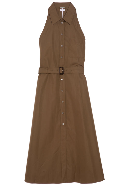 Sleeveless Button Front Dress in Khaki Militare