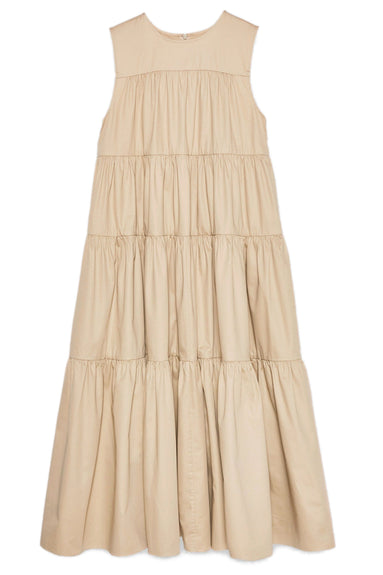 Sleeveless Tiered Midi Dress in Taupe