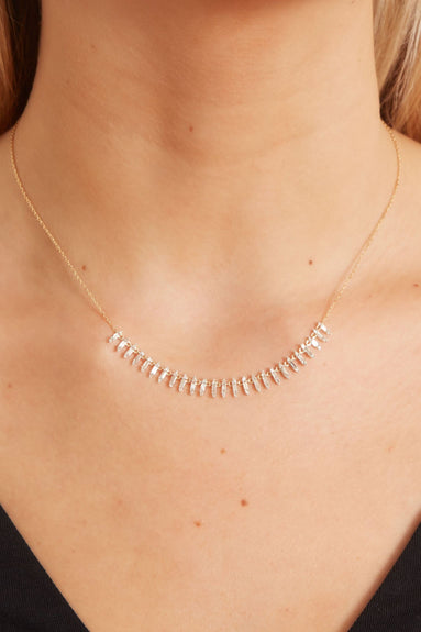 Stack Baguette Curve Collar in Yellow Gold