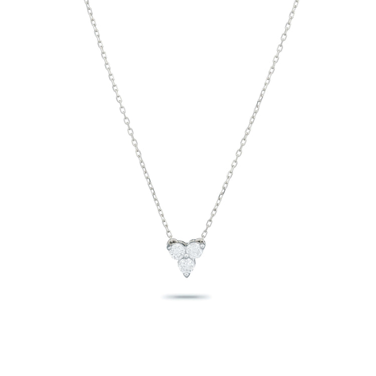 Diamond Cluster Necklace in Sterling Silver