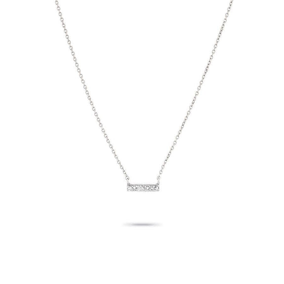 Super Tiny Pave Bar Necklace in White Gold