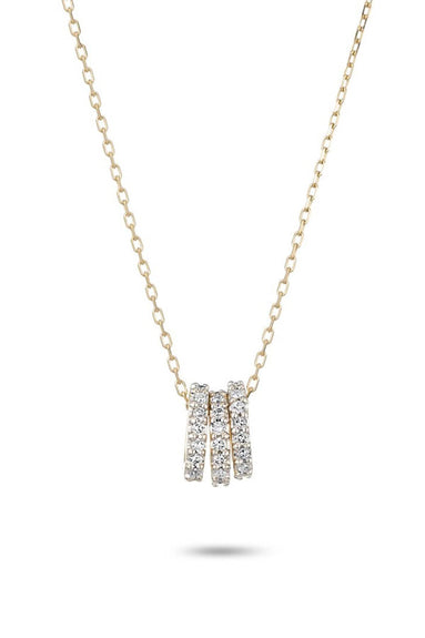 Tiny 3 Pave Beads Necklace in Yellow Gold