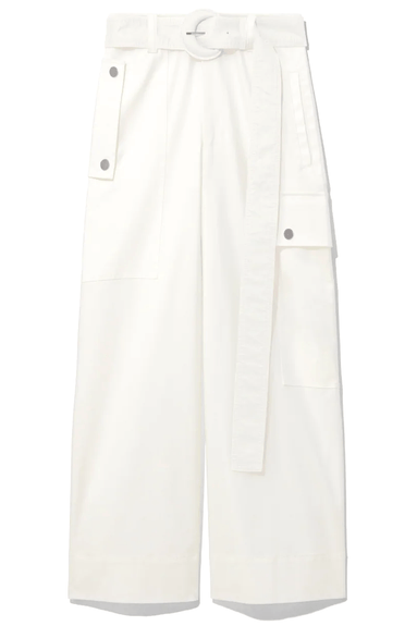 Cotton Belted Cargo Pant in Off White