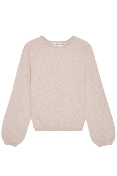 Raglan Peasant Sleeve Sweater in Sand Melange