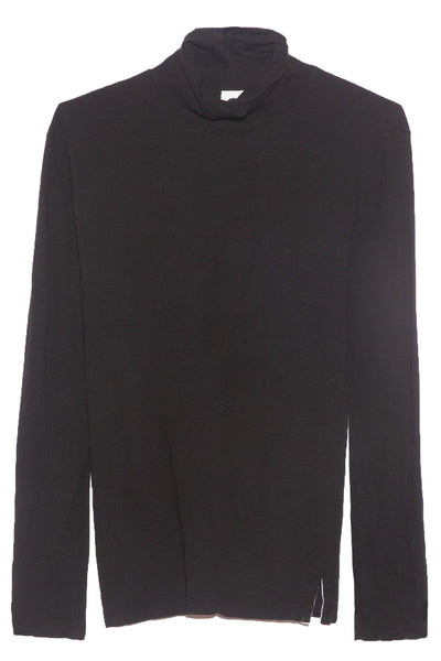 Fitted Funnel Neck T-Shirt in Black