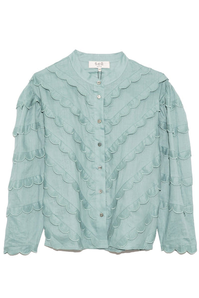 Shannon Scallop Long Sleeve Blouse in Sky