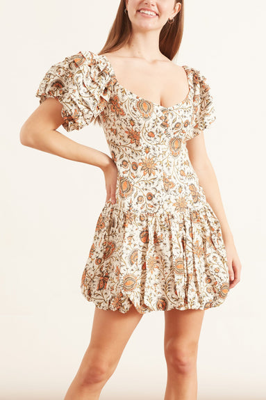 Yolanda Corset Mini Dress in Ivory Multi