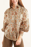 Yolanda Puffy Shirt in Ivory Multi