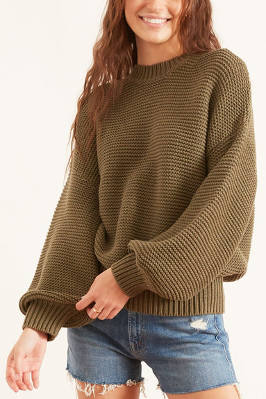 Button-Back Crewneck Sweater in Olive