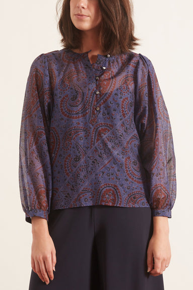 Easy Popover Top in Blue Paisley