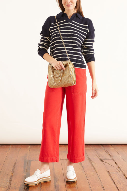 Jacques Stripe Pullover in Dark Navy/Ivory