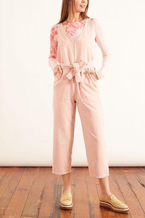 Ollie Upcycled Denim Overall in Pale Pink