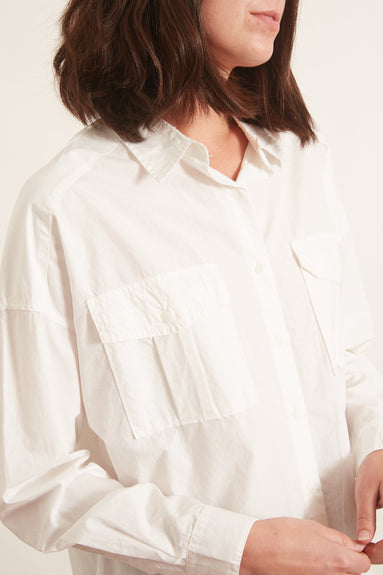 Oversized Garment Dyed Shirt in White