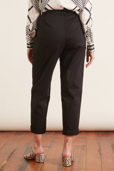 Pleated Peg Pant in Black