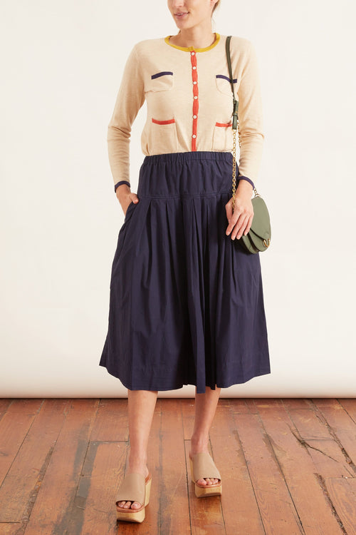 Pleated Skirt in Deep Navy