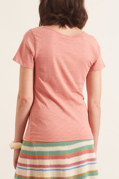 Scoop Slub Cotton Tee in Dirty Rose