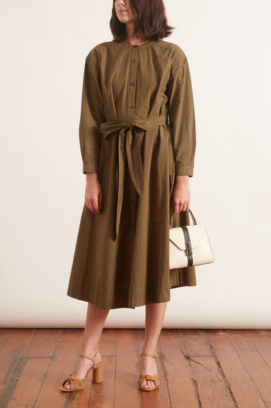 Tie Waist Shirtdress in Military Olive