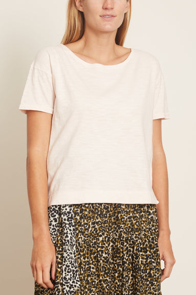 Slub Cotton Boxy Boatneck Tee in Pale Pink