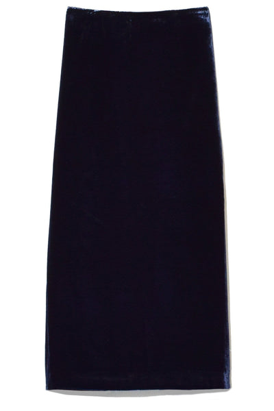 Bias Velvet Slip Skirt in Dark Navy
