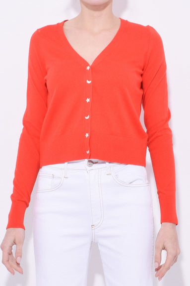 Cotton Blend Cardigan in Tomato