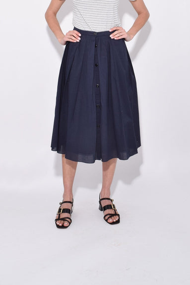 Cotton Midi Skirt in Navy