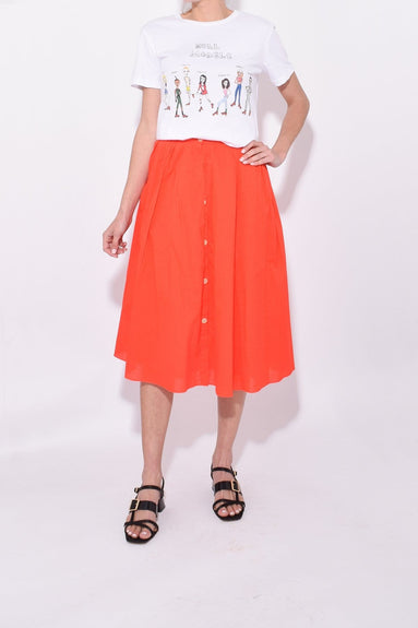 Cotton Midi Skirt in Tomato