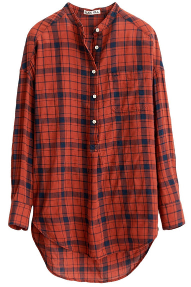 Crinkle Plaid Popover Tunic in Red/Navy