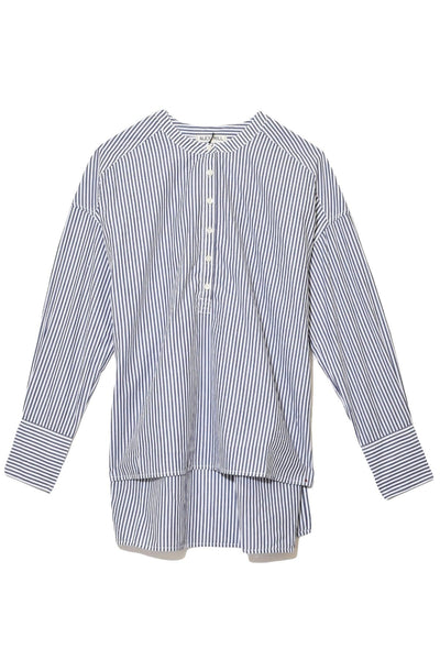 Gathered Back Oversized Stripe Shirt in Navy