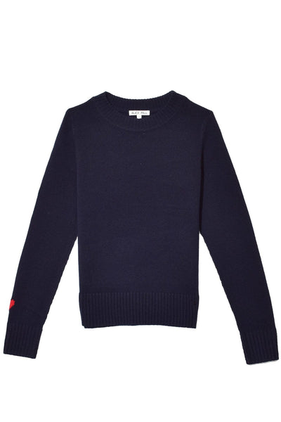 Heart on Sleeve Crewneck in Deep Navy