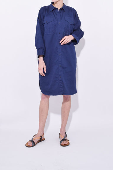 Military Shirt Dress in Navy