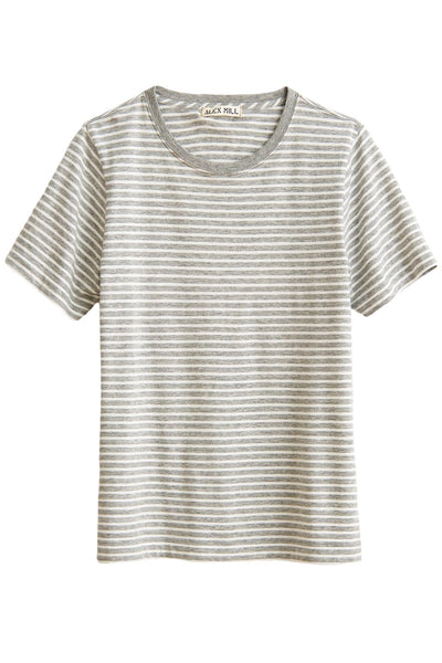 Modal Stripe Shrunken Tee in Natural/Heather Grey