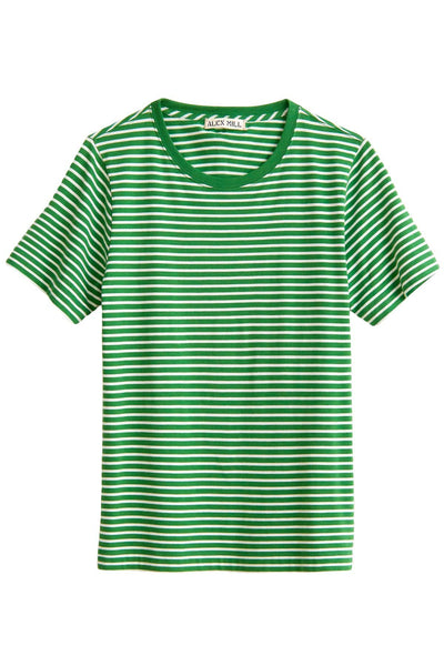 Modal Stripe Shrunken Tee in Natural/Spring Leaf