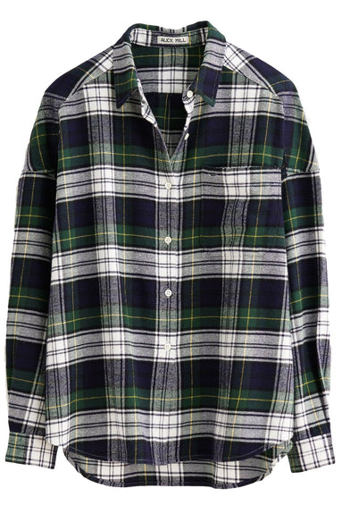 Oversized Flannel Plaid Shirt in Blue/Green