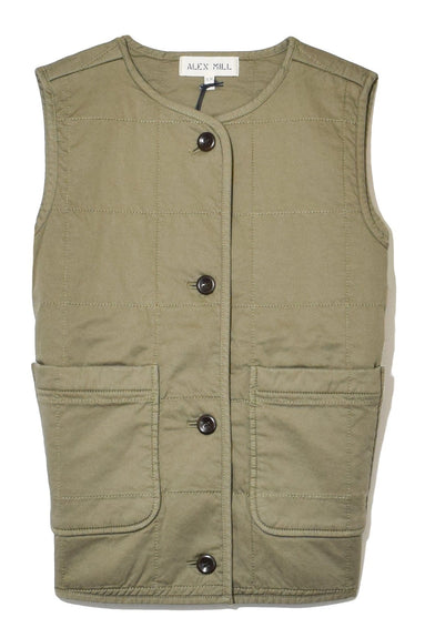 Puff Vest in Military Green