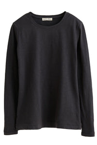 Slub Long Sleeve Solid Tee in Black