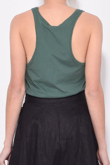Solid Jersey Tank in Racing Green