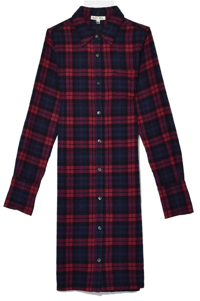Standard Plaid Midi Shirt Dress in Navy/Red