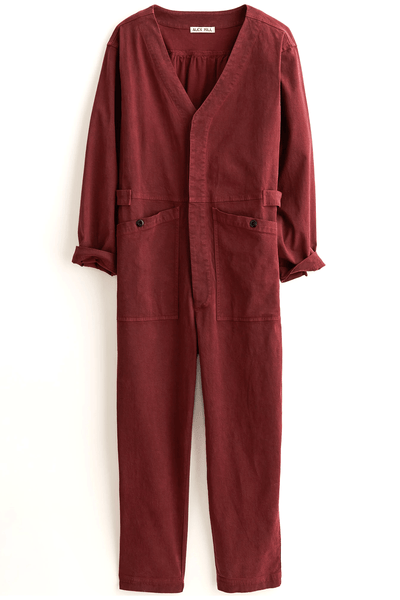 V-Neck Jumpsuit in Bordeaux