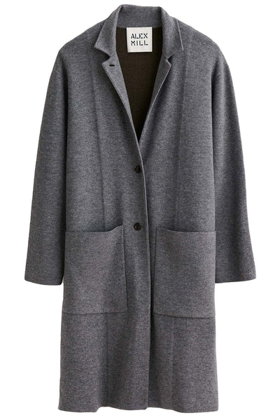 Wool Blend Half Sweater Coat in Lead/Sable