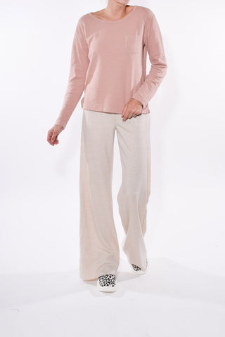 Double Weave Pocket Long Sleeve Top in Cloud Pink