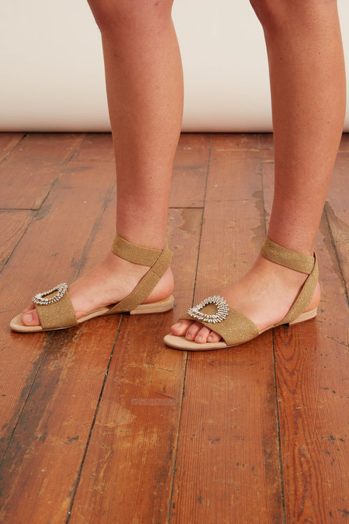 Madelina Elastic Sandal in Nude/Gold/Silver